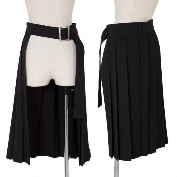 ワイズY's 厚手ウールギャバプリーツ巻きスカート 黒3【中古】