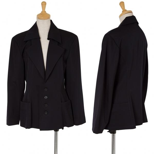ワイズY's 付け衿ウールギャバデザインジャケット 紺M位【中古】 【レディース】