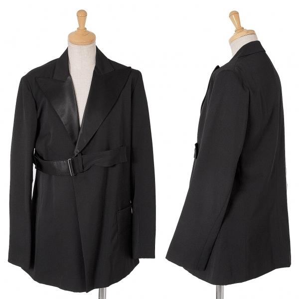 ワイズY's サテンラペル切替ベルトデザインウールギャバジャケット 黒3【中古】 【レディース】