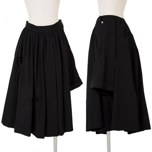 新品!レギュレーション ヨウジヤマモトREGULATION yohji yamamoto ウールギャバギャザースカート風アシンメトリーパンツ 黒3