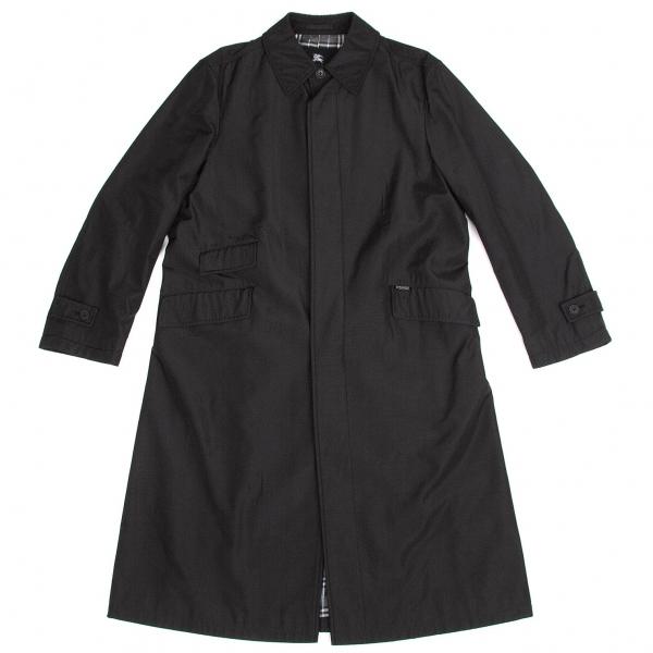 バーバリー ブラックレーベルBURBERRY BLACK LABEL 裏チェックナイロンステンカラーコート 黒水色白L【中古】