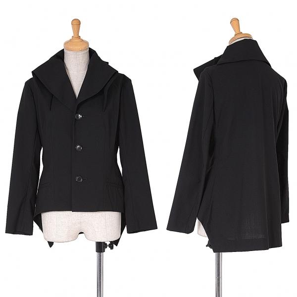 ヨウジヤマモト ファム Yohji Yamamoto FEMME 衿デザインサマーウール3Bジャケット 黒1【中古】