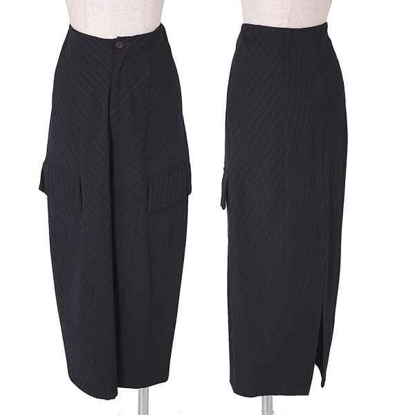 コムデギャルソンCOMME des GARCONS 切替デザインストライプロングスカート 紺S【中古】 【レディース】