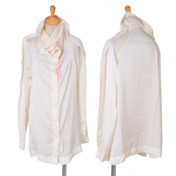 イッセイミヤケISSEY MIYAKE ポリ刺繍ハイカラーシャツ クリームピンク2【中古】