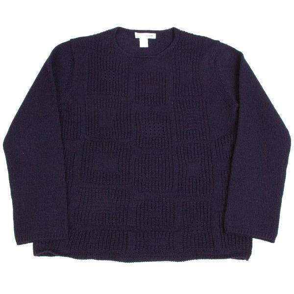 コムデギャルソン シャツCOMME des GARCONS SHIRT ウールブロック織りニットセーター 紺L【中古】