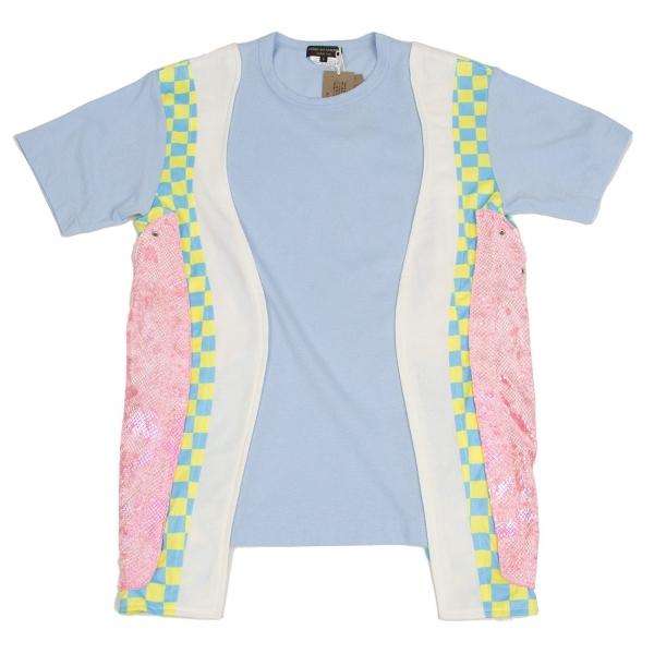 新品!コムデギャルソン オムプリュスCOMME des GARCONS HOMME PLUS カーブ切替Tシャツ 水色白ピンク他S 【メンズ】