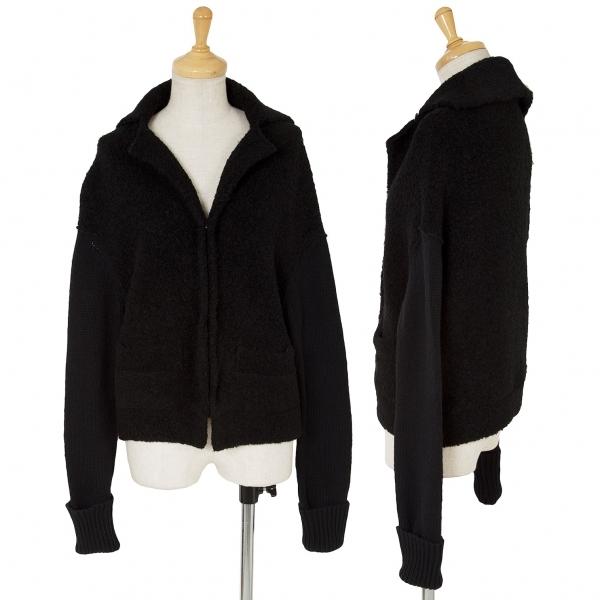ワイズY's セーラーカラー切替ニットウールジャケット 黒3【中古】