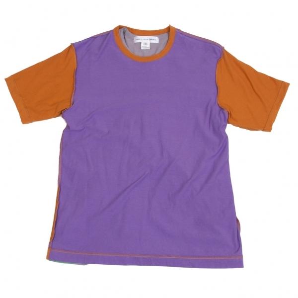 コムデギャルソンシャツCOMME des GARCONS SHIRT 切替レイヤードTシャツ パープルレンガグレー他M【中古】 【メンズ】