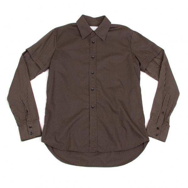マルタンマルジェラMartin Margiela 10 コットン袖切り替えチェックシャツ 茶黒2【中古】