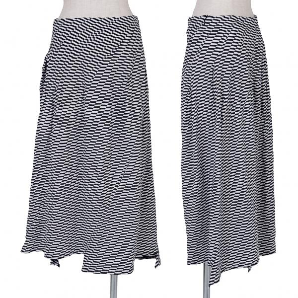 イッセイミヤケ フェットISSEY MIYAKE FETE 裾デザインカットスカート 黒白M位【中古】