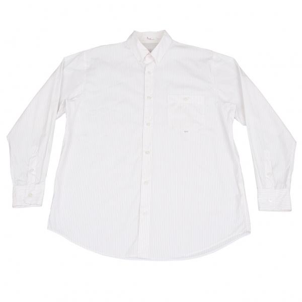 パパスPapas ストライプボタンダウンシャツ 白エンジ50L【中古】