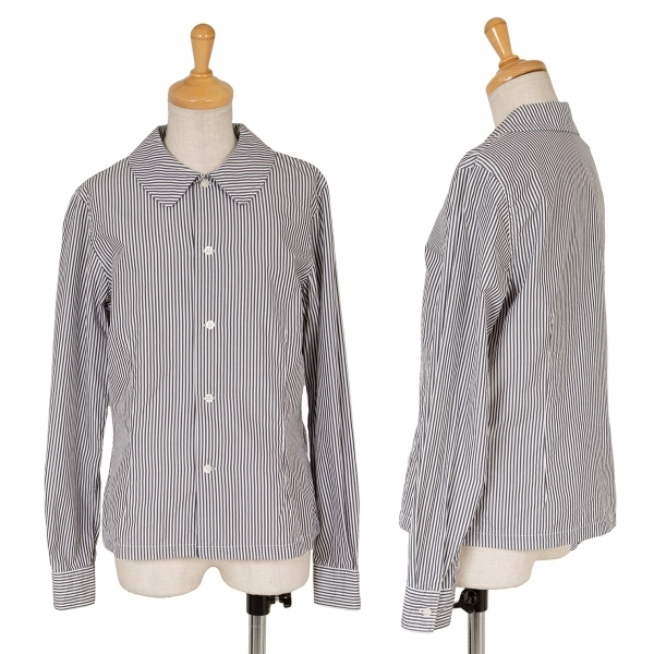 コムコム コムデギャルソンCOMME des GARCONS ストライプラウンドカラーシャツ チャコールS【中古】 【レディース】