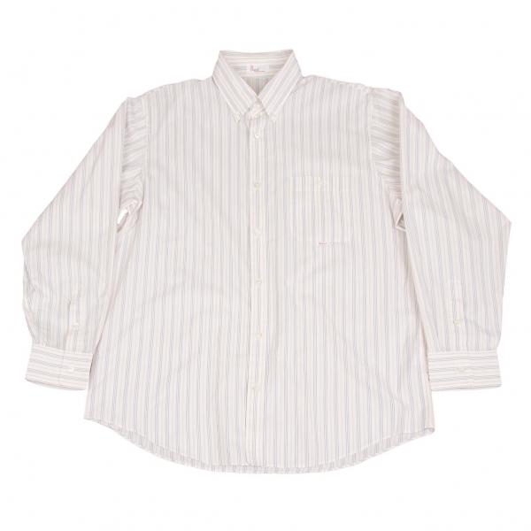 パパスPapas オルタネイトストライプボタンダウンシャツ 白ベージュ青50L【中古】 【メンズ】