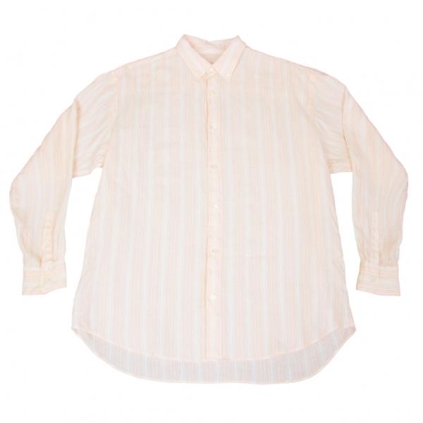 パパスPapas リネンストライプボタンダウンシャツ 濃淡ピンク50L【中古】