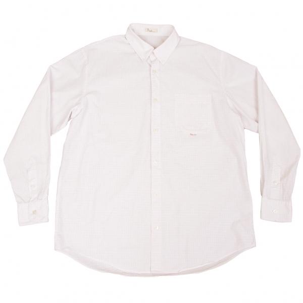 パパスPapas グラフチェックボタンダウンシャツ 白青ベージュ50L【中古】 【メンズ】