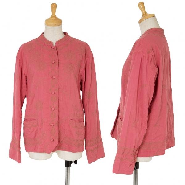 イッセイミヤケ ハートISSEY MIYAKE HaaT インドコットン刺繍デザインバンドカラーシャツジャケット ピンク2【中古】