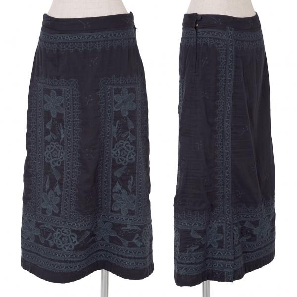 イッセイミヤケ ハートISSEY MIYAKE HaaT インドコットン刺繍デザインスカート 濃紺3【中古】
