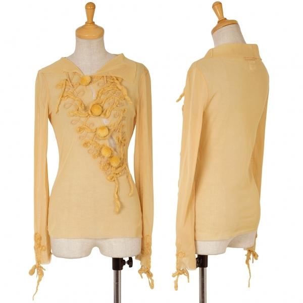 ジャンポールゴルチエ ファムJean Paul GAULTIER FEMME 胸袖装飾パワーネットトップス 黄色40【中古】