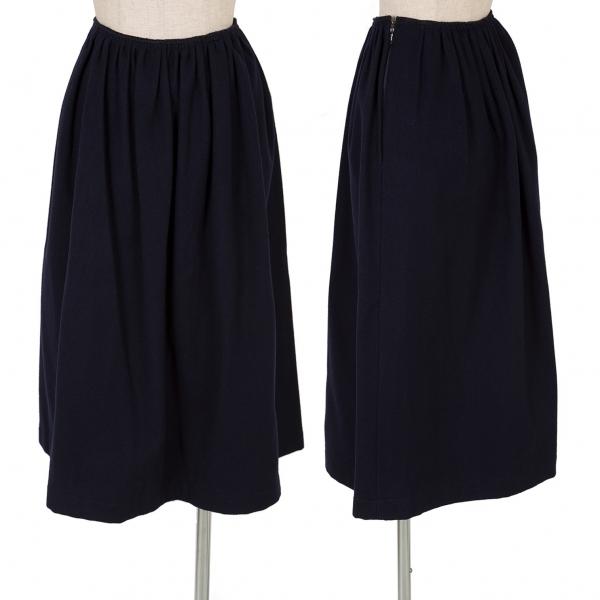 コムコム コムデギャルソンCOMME des GARCONS ウールサイドジップスカート 紺S【中古】