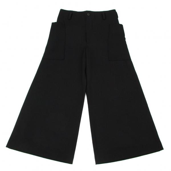 ワイズY's サイドパッチポケットウールワイドパンツ 黒L位【中古】
