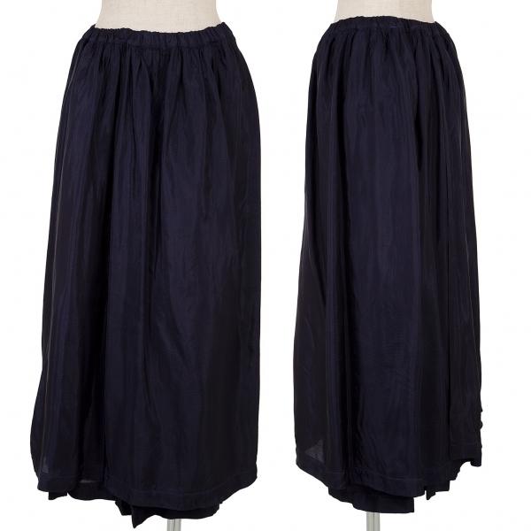 トリコ コムデギャルソンtricot COMME des GARCONS レーヨン製品染めレイヤードスカート 紺M位【中古】