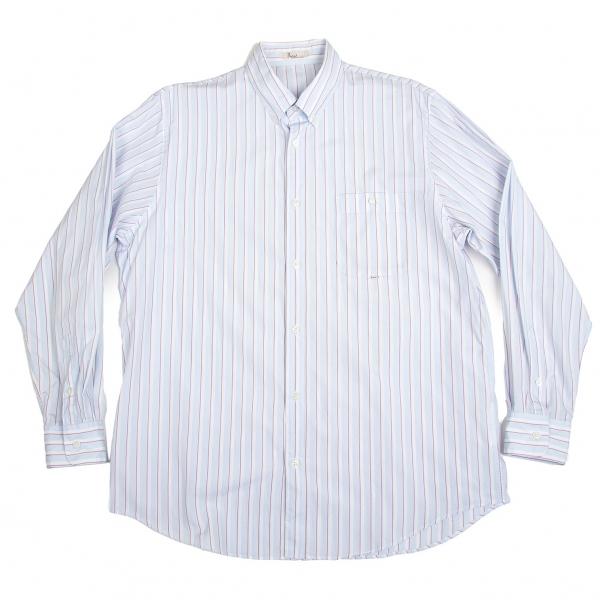 パパスPapas オルタネイトストライプボタンダウンシャツ 水色白50L【中古】 【メンズ】
