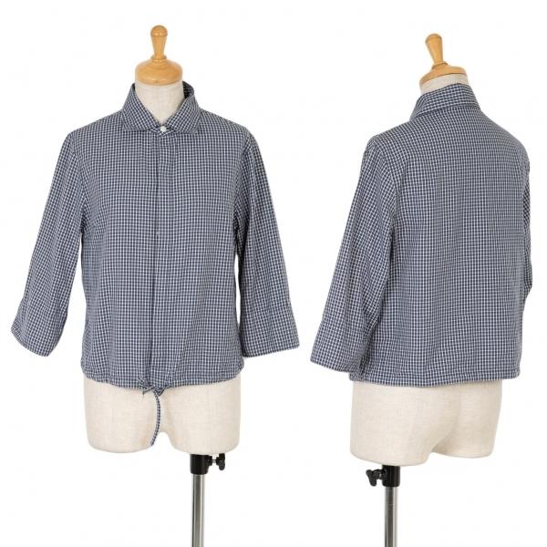 45rpm コットンチェックフライフロントシャツ 紺白1【中古】