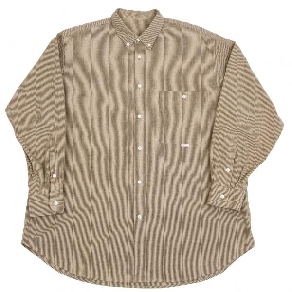 パパスPapas コットンリネンピリングストライプシャツ ベージュ黒L【中古】