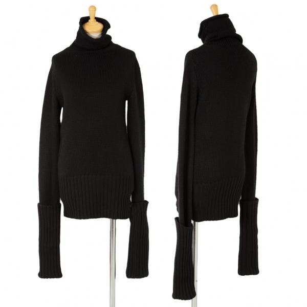 ワイズY's リブ袖折り返しデザインタートルニットセーター 黒3【中古】