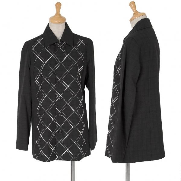 トリコ コムデギャルソンtricot COMME des GARCONS ステッチデザインウールシャツジャケット 黒M位【中古】