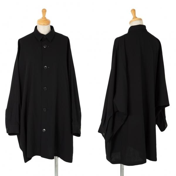 ワイズY's ドルマンスリーブウールギャバロングシャツジャケット 黒M位【中古】