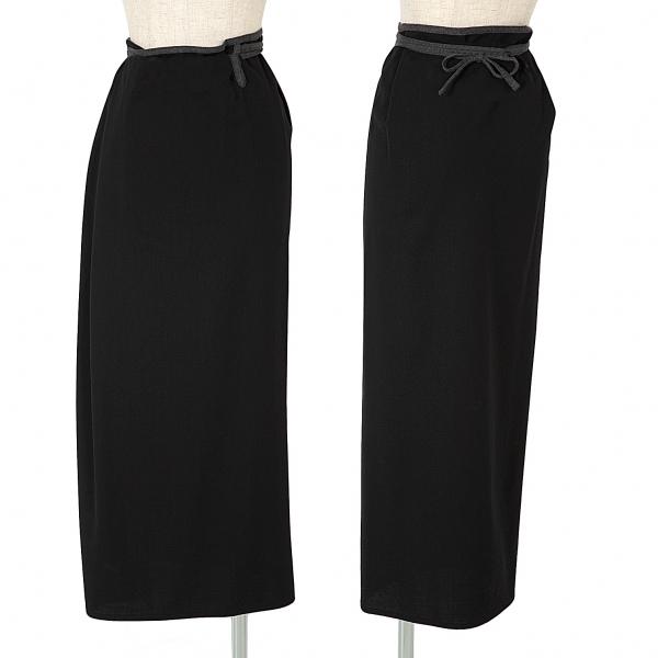 ワイズY's ウールギャバパイピングラップスカート 黒3【中古】