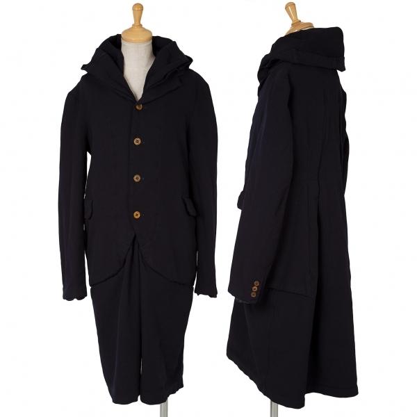 コムコム コムデギャルソンCOMME des GARCONS ポリ製品染めドッキングコート 紺M【中古】