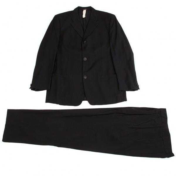ジャンニ ヴェルサーチGIANNI VERSACE メデューサデザイン3Bサマーウールセットアップスーツ 紺52【中古】【メンズ】