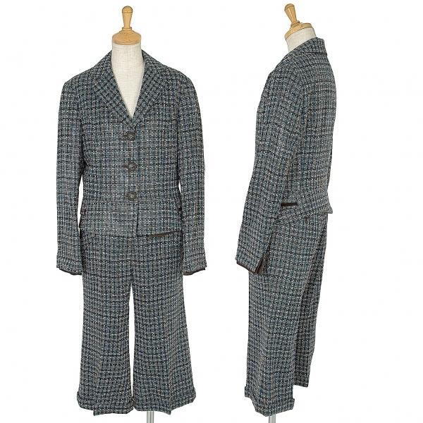ヒロコビスHIROKO BIS アクリルツイードプリントセットアップスーツ 茶青9【中古】