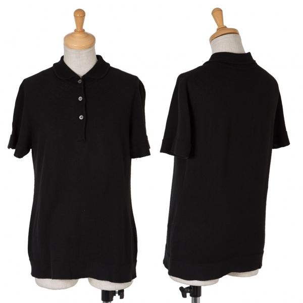 イッセイミヤケ ハートISSEY MIYAKE HaaT コットンニットポロシャツ 黒2レディースymwn0v8ON