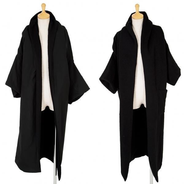 ヨウジヤマモト ファムYohji Yamamoto FEMME ウールリバーシブル半袖コート 黒S【中古】 【レディース】