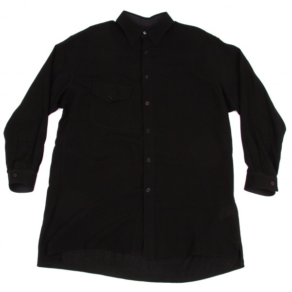 ヨウジヤマモト プールオムYohji Yamamoto POUR HOMME テンセルガーゼロングシャツ 黒2【中古】【メンズ】