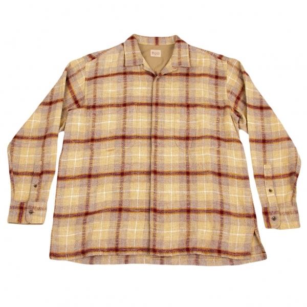 パパスPapas コットンウールフランネンルチェックシャツジャケット ベージュエンジ他M【中古】【メンズ】