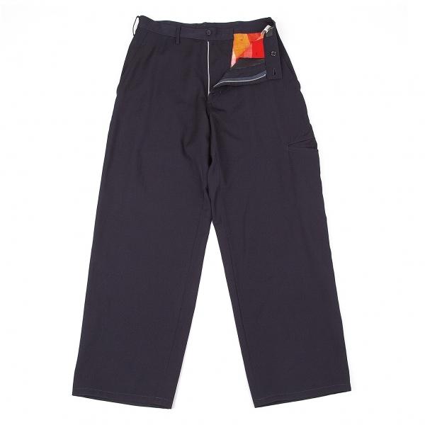ワイズフォーメンY's for men ウールギャバポケットデザインワイドパンツ 紺2【中古】 【メンズ】