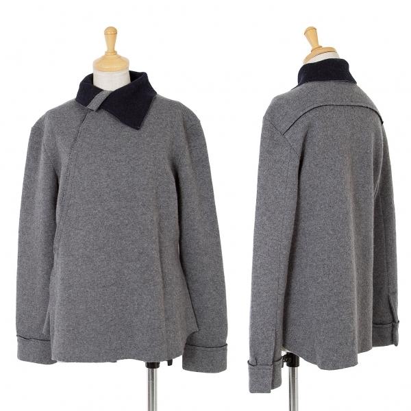 新品!ワイズY's ダブルフェイスニット裁ち切りジャケット 杢グレー紺2 【レディース】