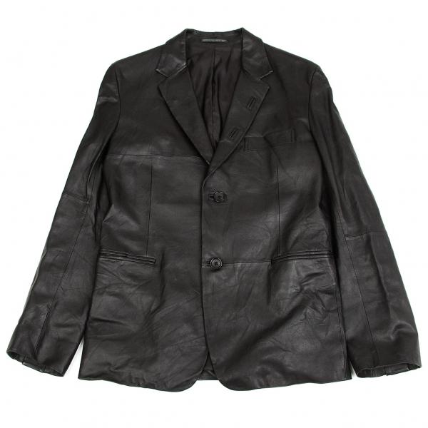 ヨウジヤマモト プールオムYohji Yamamoto POUR HOMME ラムレザー2Bテーラードジャケット 黒1【中古】 【メンズ】
