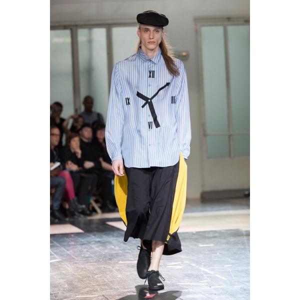 ヨウジヤマモト プールオムYohji Yamamoto POUR HOMME 時計モチーフストライプロングシャツ 青ピンク2【中古】【メンズ】