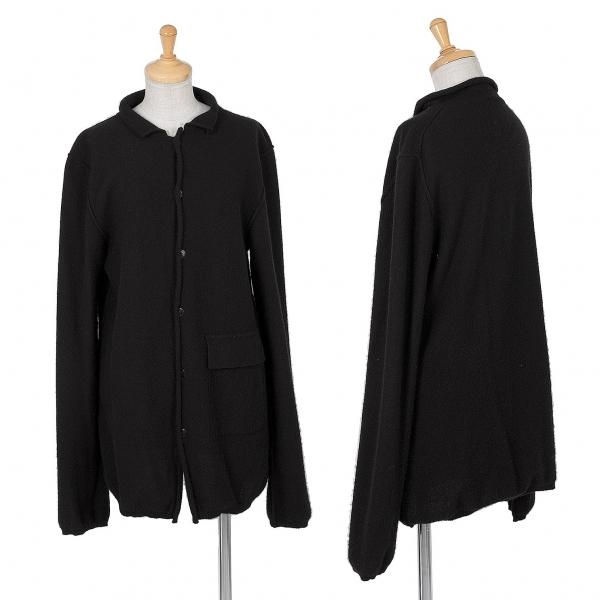 ワイズY's カシミヤ裁ち切りデザイン襟付きカーディガン 黒2【中古】 【レディース】