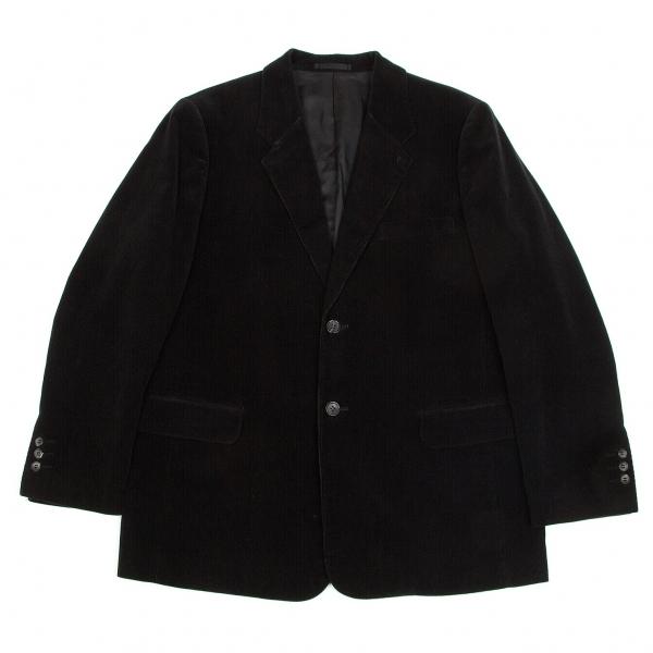 パパスPapas カシミヤ混コーデュロイ2Bジャケット 黒S【中古】【メンズ】
