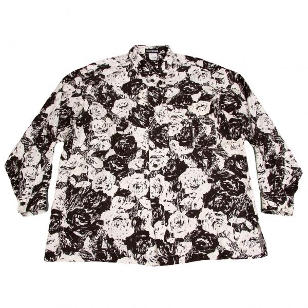 イッセイミヤケメンISSEY MIYAKE MEN レーヨンモノトーンローズプリントシャツ 黒白XL位【中古】【メンズ】