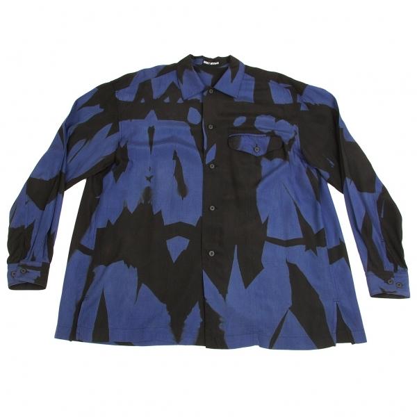 イッセイミヤケメンISSEY MIYAKE MEN レーヨングラフィックプリントシャツ 青黒XL【中古】【メンズ】