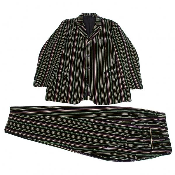 ヨウジヤマモト プールオムYohji Yamamoto POUR HOMME マルチカラーストライプベロアセットアップスーツ 黒黄緑紫M【中古】【メンズ】
