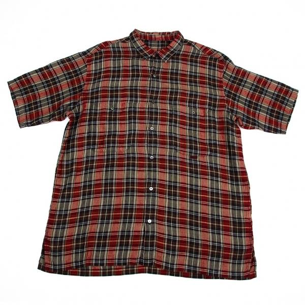 パパスPapas リネンチェック半袖シャツ 赤紺L【中古】【メンズ】