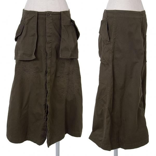 ワイズY's スクラッチ刺繍コットンフロントボタンスカート カーキ2【中古】【レディース】
